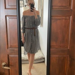 High low striped button up dress